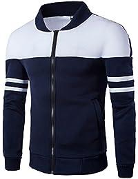Juleya Hombre Chaquetas Sudadera Cálida Manga larga Camiseta larga Redondo cuello Patchwork Coat Outwear Otoño Cardigan Cian Negro M-4XL