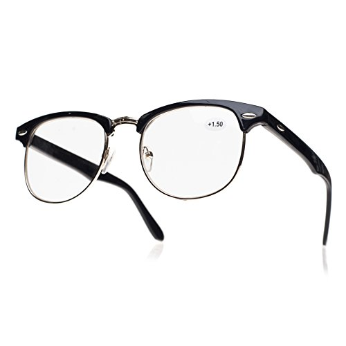 4sold (TM) Lesebrillen Retro Black, Brown dunkelbraun +1.5 or +2.00 or +2.5 or +3.0 or +3.5 or +4.00 (Retro black, 1.00) Nerd Lesebrille