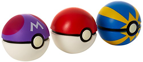 Pokemon Throw and Catch Poke Balls - Poke Ball, Premier Ball & Ultra Ball Toy 3 pack Assorted