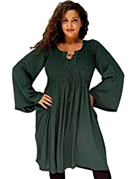 LOTUSTRADERS Damen Kleid Kurz Gesmokt Schnürung Elastisch Designer