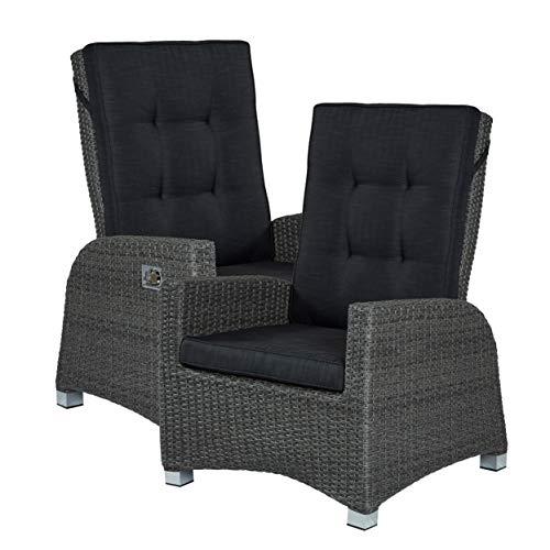 2er Set Barcelona Living Gartensessel XL Sessel für den Garten oder Terrasse - Gartenmöbel Rocking Chair Terrassensessel Poly Rattan grau mit verstellbarer Rückenlehne und Kissenauflagen