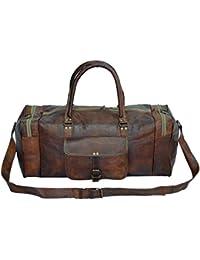 Fastyl piel hecha a mano Vintage Marrón para hombre bolso por la noche de viaje de viaje equipaje maleta 21x 11x 11cm, color marrón