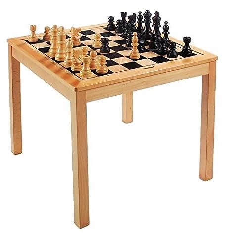 Table d'échecs réversible en bois 2 en 1