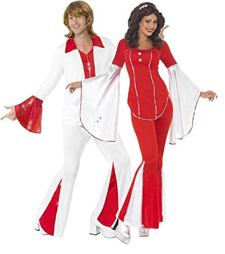 Erwachsene Kostüm Trooper Damen Für Super - Fancy Me Damen & Herren Kostüm Super Trooper 70er Jahre 1970er Jahre Disco Tänzerin Rot Weiß
