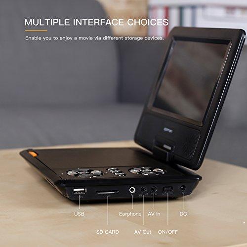 """APEMAN 7,5"""" Tragbarer DVD-Player mit 4 Stunden Akku Drehbarem Display Unterstützt SD-Karte USB AV OUT/IN Spiele-Joystick - 8"""