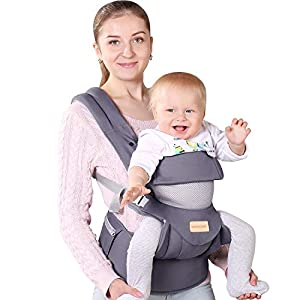 Infant Toddler Baby Carrier Wrap Backpack Front and Back, Hip Seat & Hood, Soft & Breathable Cotton, Cool Air Mesh, Grey   5