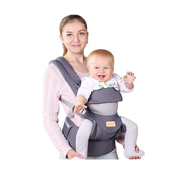 Infant Toddler Baby Carrier Wrap Backpack Front and Back, Hip Seat & Hood, Soft & Breathable Cotton, Cool Air Mesh, Grey tiancaiyiding ❤ Ergonomic Design: Wide and thick backpack straps help relieve stress . Easy to put on or take off. ❤ M shape Position: Stop hurting your baby's legs. Keep blood circulation in normality. ❤ All-round Support: Simple and thus strong structure. 360° wraps the baby against falling out. Collapsible hood for wind and sun protection 1