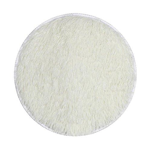 Haushalt Runde Seidenhaar Teppich Bodenmatte,Jaminy Verdickte Runde Teppich Matten Esszimmer Schlafzimmer Teppichboden Matte 40x40cm (Weiß)