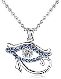 Infuseu Argent sterling 925 Main de Hamsa et mauvais œil Charm pendentif  Collier CZ Bijoux pour f39f756ee7ec