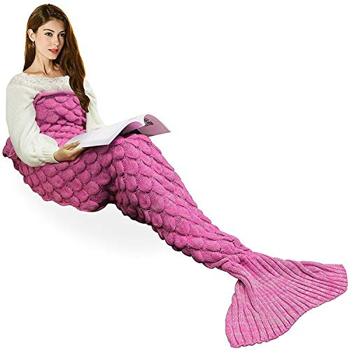Wearable Meerjungfrau Schwanz Decke, Alle Jahreszeiten Warme Gestrickte Bettdecken Sofa Wohnzimmer Steppdecke Schlafsack für Kinder und Erwachsene, Fischschuppen Muster, 180 x 90 cm, Pink