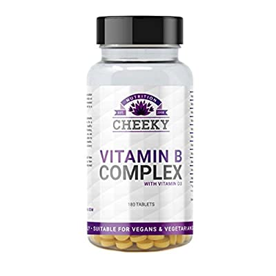 Vitamin B Complex with added Vitamin D3, contains all 8 B Vitamins B1, B2, B3, B5, B6, B12, Biotin & Folic Acid. 180 tablets (6 month supply) UK Manufactured by Cheeky Nutrition from Cheeky Nutrition