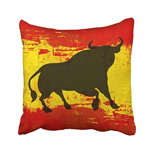 ZGNNN-EU Rojo Matador Español con Toro Sobre Bandera de España Amarillo Toro Hispano Símbolo Envejecido Lona Decorativo Fundas de cojín 18 x 18 Throw Funda de Almohada para el hogar y Regalos