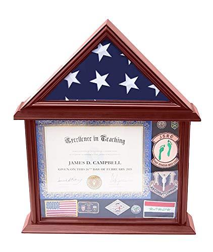 cument & Certificate Holder mit 3x5 Flag Display Case, Mango Finish ()
