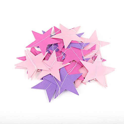 Guirlande Etoile en Papier 4m pour Décoration Chambre Enfant Fête Noel Anniversaire(Rose + rose pâle + violet)
