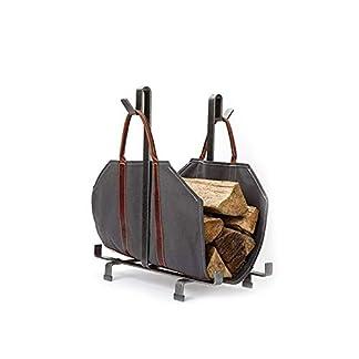 Bolso de compras con soporte de registro de lona, soporte de leña grande y duradero con asas y correas para los hombros, estuche de madera duradera para chimeneas y estufas de leña, gris