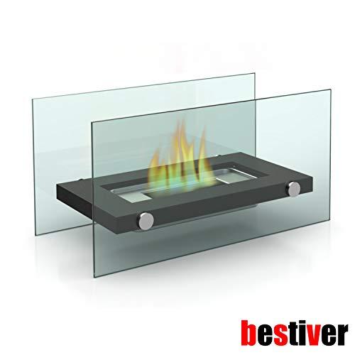 Design Glas-Kamin Tischfeuer mit Bio-Ethanol für Indoor und Outdoor (M)