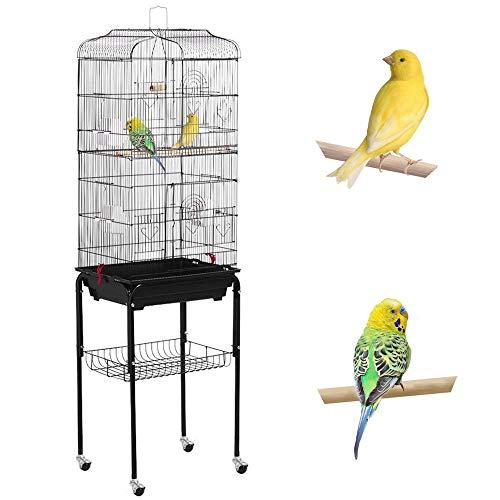 Yaheetech XXL Vogelkäfig Vogelbauer Wellensittich Kanarien mit Freisitz & Zubebör mit Ständer