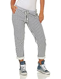 ZARMEXX Damen Sweatpants Baggy Hose Boyfriend gestreift Freizeithose  Sporthose All-Over Striped Print One Size 66f1da0a6c