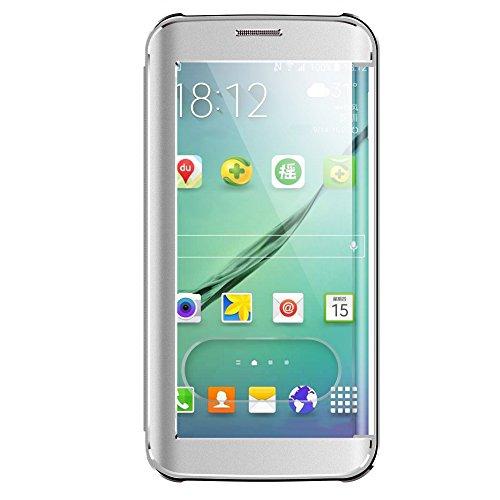 Premium Oats Samsung Galaxy S6 Edge Schutzhülle mit stylischer Aluminium Vorder und Rückseite Sichtfenster Anrufe schnell Annehmen Hülle Hard Cover Flip Back Case Tasche - von OKCS® in Silber Silber