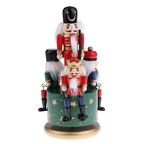 Baoblaze Holz Nussknacker Soldaten Figuren Uhrwerk Spieldose Spieluhr Musikbox Perfekt für...