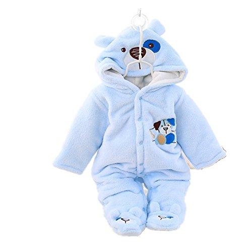 Pormow Herbst-winter Verdickte Warm Unisex Baby Overall Cartoon Coral Fleece Kinderkleidung