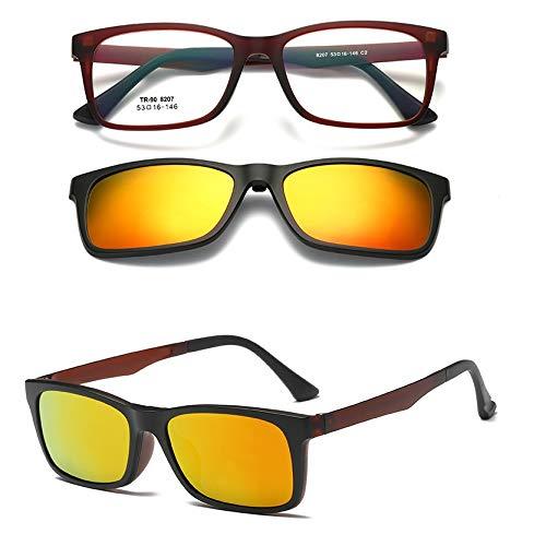 LKVNHP New Hohe Qualität Magnetische Myopie Sonnenbrille Männer Frauen Doppelobjektiv Polarisierte Sonnenbrille Anti Glare Uv400 Spiegel Getönt Fahren ShadesOrange