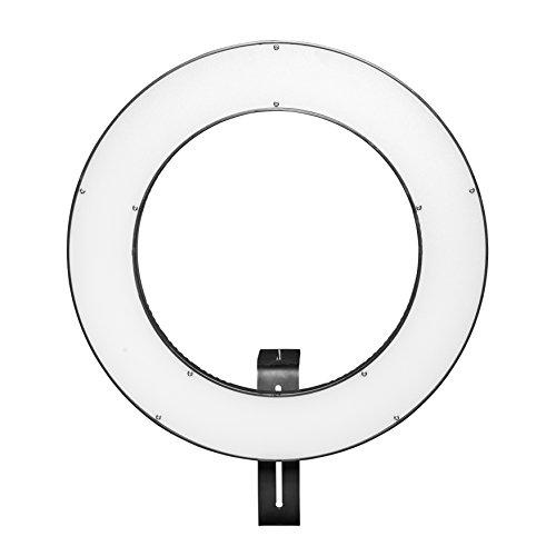 Walimex pro LED Ringleuchte 380 Bi Color, dimmbare Helligkeit regelbare Farbtemperatur, modern und vollwertig ausgestattetes LED Ringlicht, Ø 38 cm, Betrieb per NP-F Akku oder Netzteil (380 Bi Color)