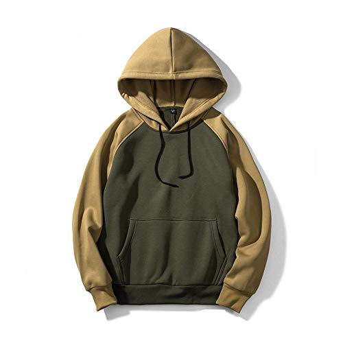 Hoodie Pullover Herren Kordelzug Hooded Long Sleeve Loose Fit Unisex Hoodies Sweatshirt Core Sport Hoody, Logo Trägerlos Jacken in den Straßen farbenreiche XL: 76cm Green+Khaki Logo Xl Hoodie Sweatshirt
