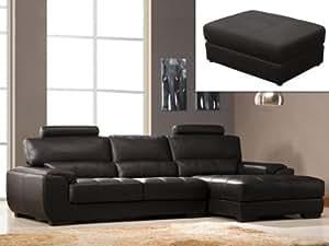 Canapé d'angle et pouf en cuir METROPOLITAN II - Chocolat - Angle droit