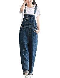BIRAN Pantalon Large pour Les Femmes en Jumpsuit Vrac Denim breal Salopette Pantalon  Décontracté Lâche Pantalon f444fba6780
