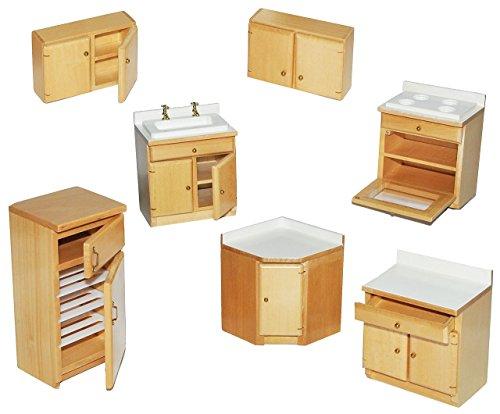 7 tlg. Set: Küche / Küchenmöbel aus hellem natur Holz – Miniatur – Schrank + Spühle + Hängeschränke + Herd + Eckschrank + Kühlschrank mit Gefrierfach – Puppenstubenmöbel für Puppenstube Maßstab 1:12 – Puppenhaus Puppenhausmöbel Küche – Puppenstubenmöbel Kirsche