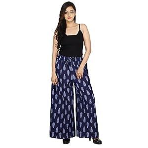 Jaipur Classic Cotton Slub Premium Printed Palazzo Pants for Women Girls | Blue 2