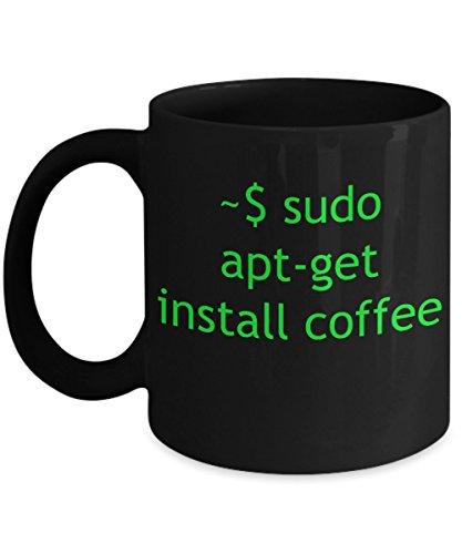 Tasse Linux APT-Get-installieren Kaffee-Schwarz Keramik Tee Tasse-Geschenk für Computer Nerd Husband, Geek Herren, Programmierer Boyfriend (Linux-kaffee-tasse)
