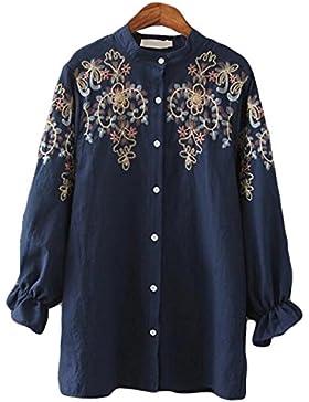 Cuello Alto Camisa De Gran Tamaño Estilo étnico Mujeres Largas Secciones Bordados Camisas Chaquetas