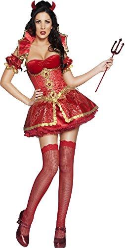 Fever, Damen Teufelin Kostüm, Kleid, Korsett mit Überrock, Abnehmbarer Kragen, Hörner und Ärmel, Größe: S, 33278