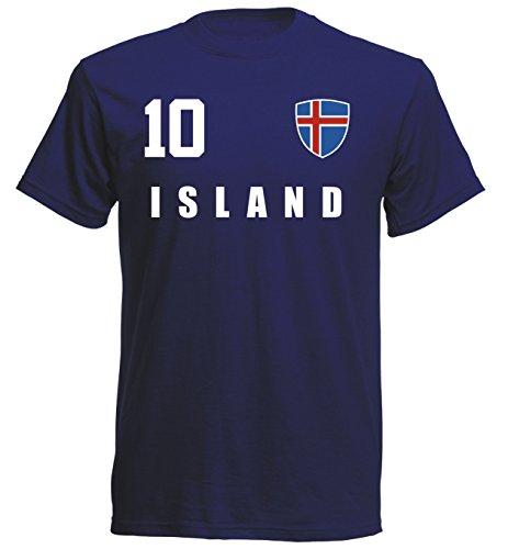 Island WM 2018 T-Shirt Fußball Trikot Sport - Navy ALL-10 - S M L XL XXL (XL) -