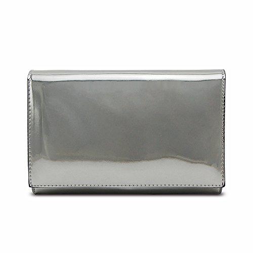 Jieway Frauen Spiegel Hell Lackleder Clutch Geldbörse Handtaschen Schulter Tote Bags Silber