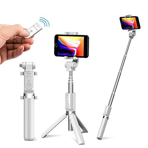 Humixx Selfiestick, Selfie Stick, Drahtlos Gesteuert Selfiestick iPhone für 6/7/8 /Samsung iPhone X / 8 Plus / 8 Plus / 7 / Samsung Galaxy Serie, DSLR und iPad (Weiß)
