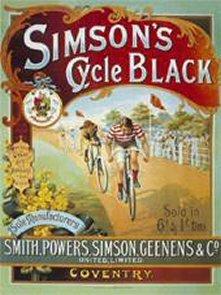 FRANZOSICH VINTAGE METALL BLECHSCHILD 40x30cm RETRO WERBUNG ENGLISCHE FAHRRAD SIMON'S BLACK (Vintage Fahrrad Kennzeichen)