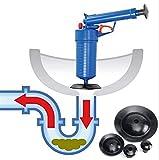 Abflußreiniger Toiletten Rohrreiniger Leistungsstärker Pressluft-Rohrreinigungspistole-Luftstößel - leistungsstarker Abfluss-Kolben mit 4 Art Saugnäpfen, Multifunktionale Reinigungspumpe verwendbar fü