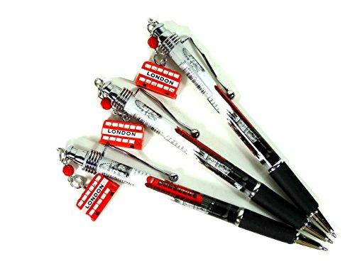 London Charm Stifte (Set von 3)–zum Sammeln Silber Top Souvenir Kugelschreiber mit Charm...