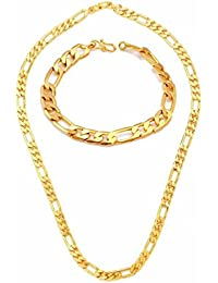 Shivaay Combo Of Gold Plated Bracelet & Chain For Mens & Boys (Pack Of 2)