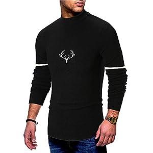 VRTUR Herbst Winter Pullover Herren Langarm Gedruckt Pullover Gestrickt Pullover Top Tee Outwear Bluse Sweatshirt Strickpullover