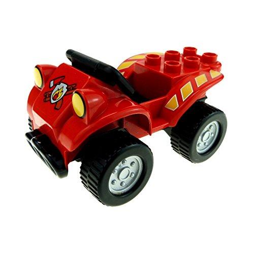 Bausteine gebraucht 1 x Lego Duplo Fahrzeug Auto Quad rot schwarz mit Fire Logo Feuerwehr PKW für Set 5603 54007c03 54005pb02