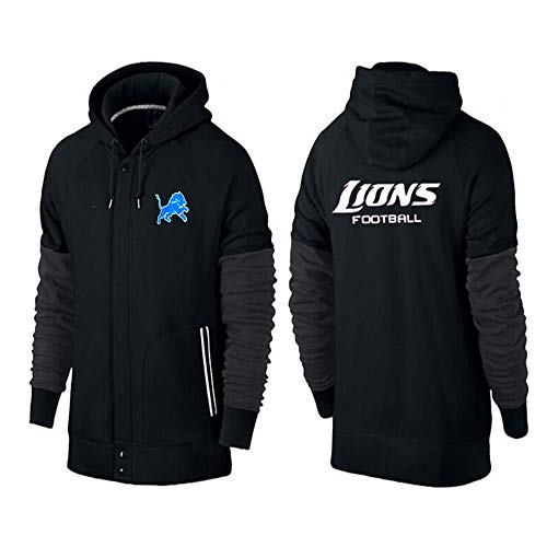 XHDH NFL Rugby Hoodies, Long Sleeve Detroit Lions Lässige Sweatshirt Pullover Hoodie Sportkleidung American Football (S-3XL),Schwarz,3XL(190cm~195cm) -