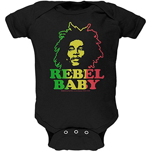 Bob Marley–Rebel Baby Infant Body, Schwarz, 84649-XL
