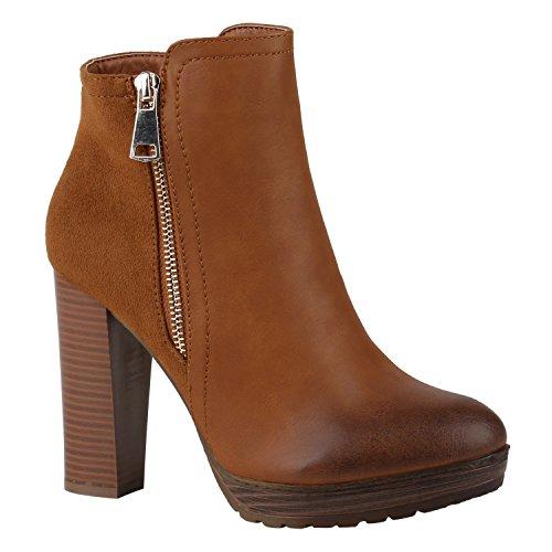 Stiefelparadies Mujer Botina Botas con Plataforma con Forro Ligero 144353 marrón Claro 36 Flandell