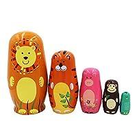Forestwood 5PCS Wooden Nesting Doll Animal Cartoon Lion Hippo Monkey Craft Gift Wishing Doll Birthday Box Storage Box