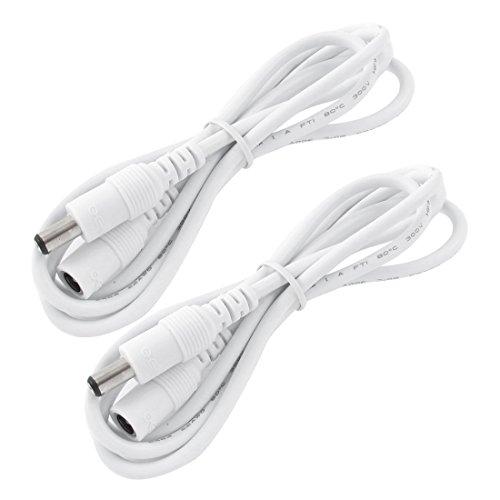 LitaElek 2X 2,5m DC 12V Verlängerungskabel mit 2,1mm x 5,5mm DC Stecker Adapter Männlich zu Weiblich DC 0-36V Netzkabel Verbinder für Auto Monitor,CCTV IP Kamera,LED Streifen,usw(2,5m,2 Stück,Weiß) Große Cctv-monitor
