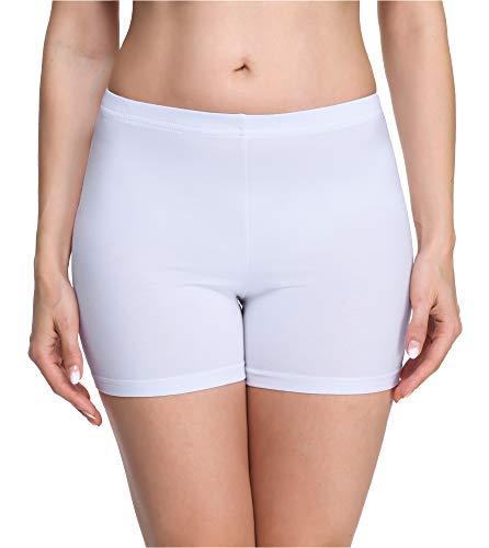 Merry Style Damen Shorts Radlerhose Unterhose Hotpants Kurze Hose Boxershorts aus Viskose MS10-283 (Weiß(Shorts), XL)